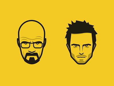 Breaking Bad 3 breaking bad face icons illustration heisenberg pinkman