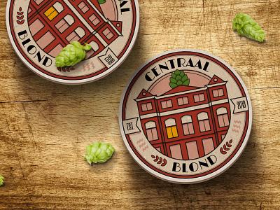 Centraal Blond beer label centraal blond vector design illustration art direction branding design branding coaster logo beer