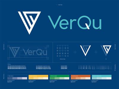 VerQu Logo Construct logo construction logo concept data vector logo design branding design art direction branding