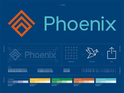 Phoenix Logo Construct logo construction logo concept migration phoenix digital data vector design logo branding design art direction branding