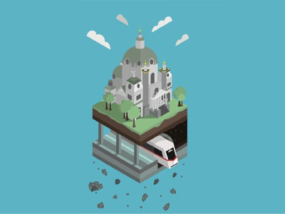 METRO1bew illustrator vienna metro flat design vector illustration