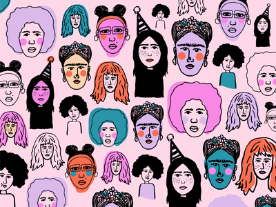 Girl Party women empowerment womens day women in illustration girls ladies fridakahlo women visual design illustration
