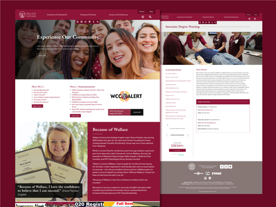 Wallace Community College Website web design graphic design typography branding design ux ui graphic website web college