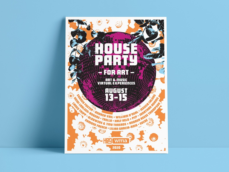 House Party for Art screenprint shirt poster web vector web design website illustration graphic design typography graphic branding design