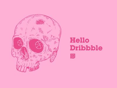 Our First Shot first shot skull dribbble branding flat vector animation design illustration