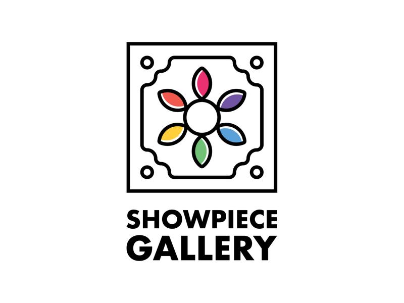 Showpiece Gallery education frame art artist rainbow color logodesign branding logo