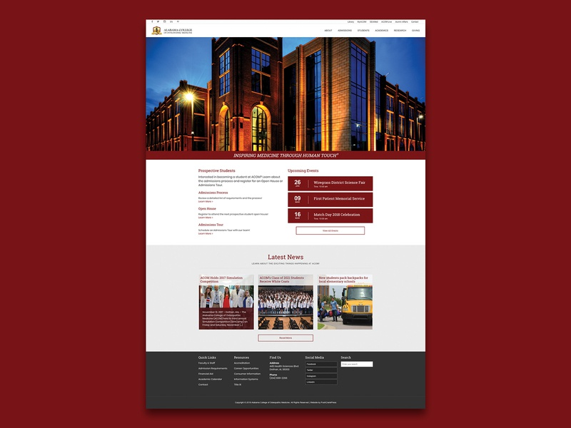 Alabama College of Osteopathic Medicine ux ui web design website graphic design graphic design branding