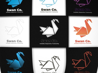 Swan Co. 3x3 icon design vector branding logo