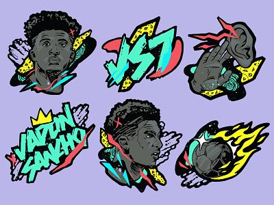 JADON SANCHO x EA Launch party Stickers. fifa fifa 20 soccer sticker design stickers branding flat vector design illustration