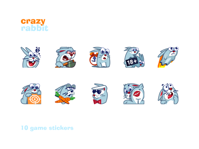 stickers «Crazy rabbit» drawing 2d playboy nice rabbit character rabbit stickers rabbit crazy stickers game icons vector illustration icon design