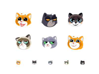 such different cats flat adobe illustrator 2d drawing animal cats grumpy vector cat icons character icon design illustration