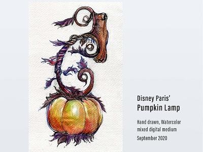 Disney Paris' Pumpkin Lamp art direction disneyland paris disneyland digital medium watercolor hand drawn