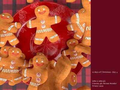 [12 Days of Christmas- Day 4 🍪] cookies gingerbradman octanerender 3d cinema4d art direction
