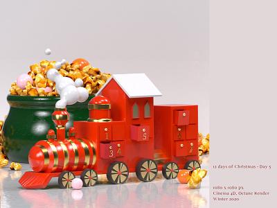 [12 Days of Christmas - Day 5 🚂] pop corn toytrain 3d cinema4d art direction