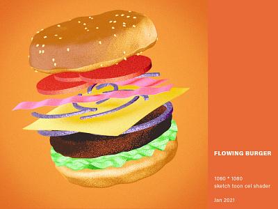 Flowing Burger [still version] sketch toon cel shading cinema4d 3d modeling art direction