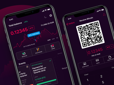 Cryptocurrency Wallet and Payments App idsn block chain dark app ios app design crypto currency crypto wallet wallet app ewallet mobile wallet mobile app ui design