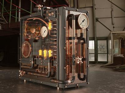 Steampunk Computer Modding 3D Concept steampunk concept modding computer