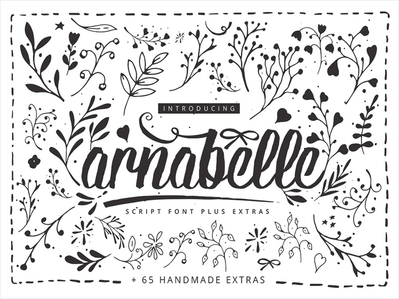 Arnabelle Script Font + 65 Extras by 2Bundles on Dribbble