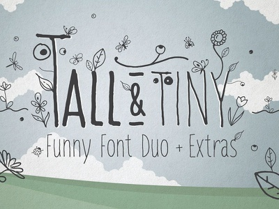 Tall & Tiny Font Duo play print hand-lettering hand-lettered hand lettered extras bold light presentation handmade tall funny
