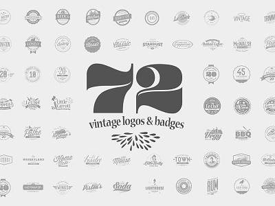 72 Vintage Logos & Badges fonts retro shapes editable vector signs design old insignia badge logo vintage