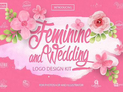 Feminine & Wedding Design Kit wedding feminine logo