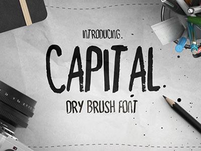 Free Font - Capital Dry Brush Font title sans halftone effect dots