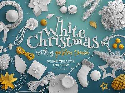 Christmas Top View Scene Creator decoration hero banner scene creator xmas christmas typography design