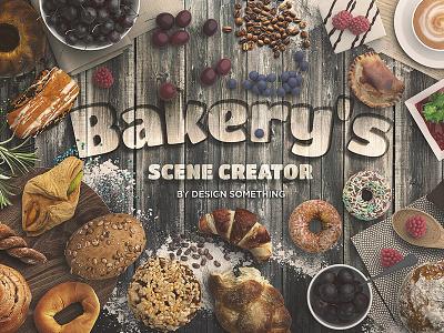 Bakery Scene Creator Top View wood movable isolated kitchener scenecreator vintage cake food bakery
