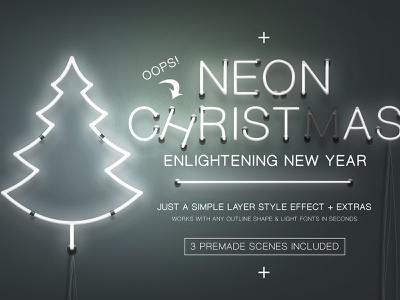 Neon Christmas Layer Style illustration realistic tube sffect scene typography electric design light christmas neon