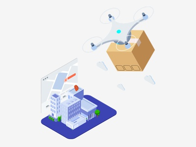 Drone delivery quadcopter vector symbol identity icon design delivery logo drone branding