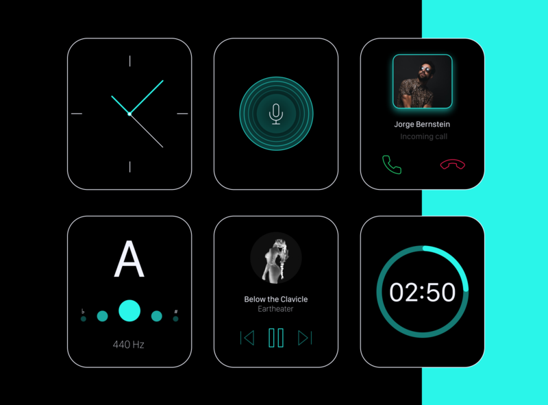 Watch OS series 5 apple watch kit turquoise black clean ui clean app ux figma design product design figma design ui minimal flat apple watch watch os watch