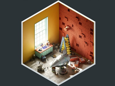 4² Rooms - Construction Room isometric adobe photoshop spaceship interior 3ds max vray render 3d art 3d illustration