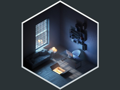 4² Rooms - The Hatch isometric design vray render interior illustration adobe photoshop 3ds max 3d art 3d