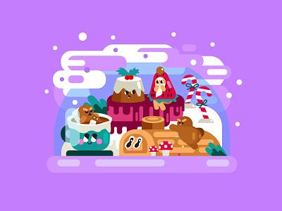Christmas Confectionary & Treats christmas party strawberry ginger breadman hot chocolate log cake illustration digital art sweets snowglobe christmas food