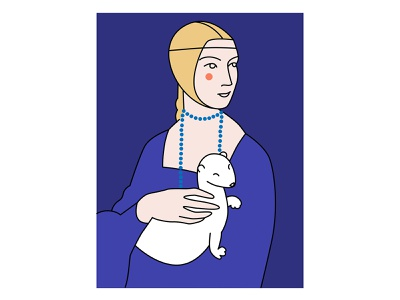Lady with an Ermine portrait renaissance animal care ermine leonardo da vinci flatdesign illustration flat illustration