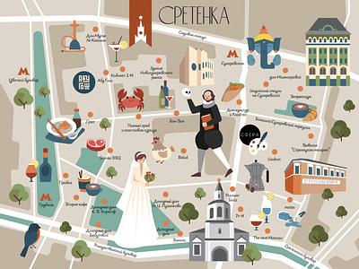 Unusual travel destinations in Moscow moscow vector illustration map ui illustration flatdesign flat illustration