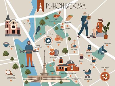 Речной вокзал moscow map design graphicdesign flatdesign illustration flat illustration