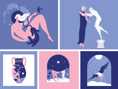 Antique vector illustration greek mythology greece motion design flatdesign illustration flat illustration