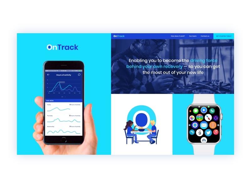 OnTrack: Brandboard rehab recovery stroke care web health digital typography branding logo app design healthcare brand illustration ui ux ui  ux