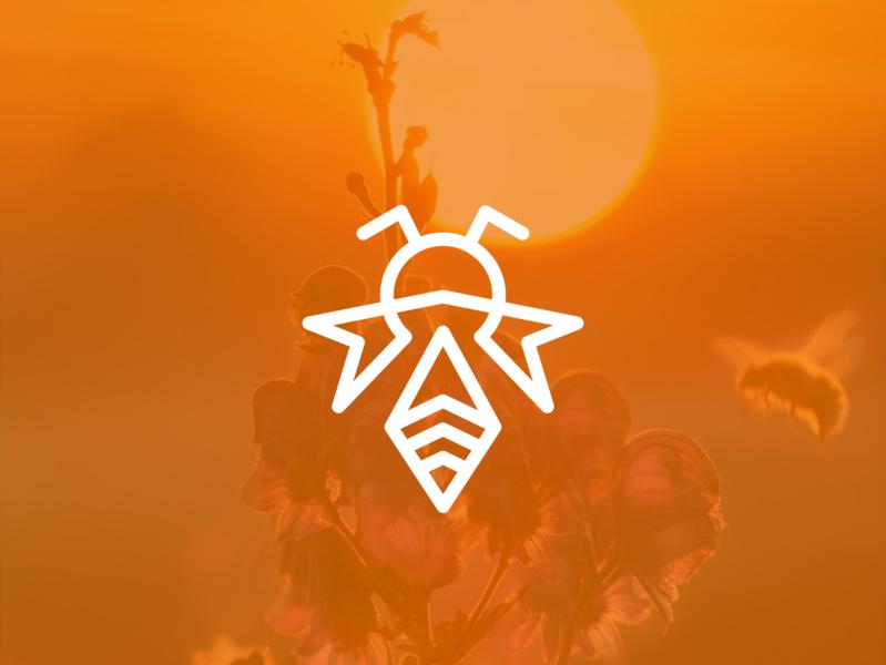 Bee line art logo design symbol animation transparency elegant hive wings nature mark icon honey design branding bee