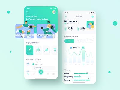 Fitness app prototype green ux ui training play percentage motion interface illustration icon exercise energy colors card basketball baseball app