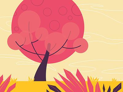Pink Over the Landscape vector illustration flat design