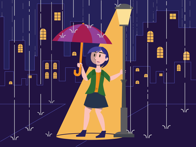Raining Scene animation vector illustration flat design