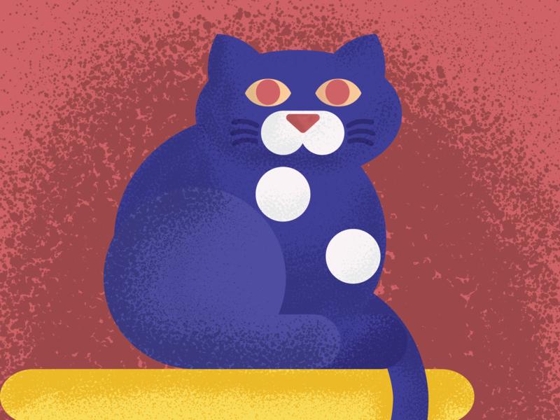 Cat Scene illustrator grain vector illustration flat design
