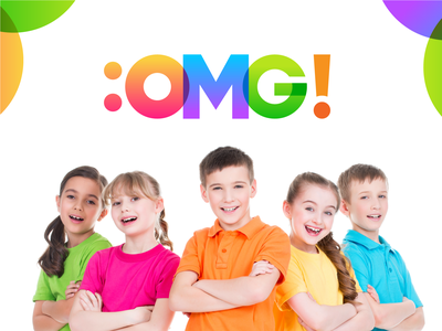 :OMG! Kids Education - Modern Typographic Logo Design for Kids. kids logos logotype unique logo colorful logo typographic logo typogaphy child logo children kids logo rgb best logo design best designer best logo branding logo inspirations logo designer modern logo logo design logo