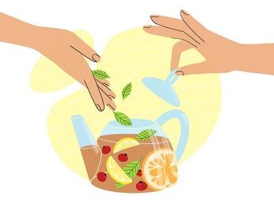 some mint 2d illustration team food hands procreate adobe illustrator vector design illustration