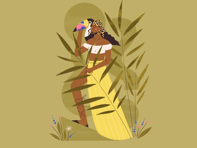 tropical mood toucan nature woman procreate flat girl design vector character illustration