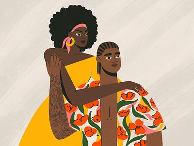 couple afro couple love procreate girl flat design character illustration