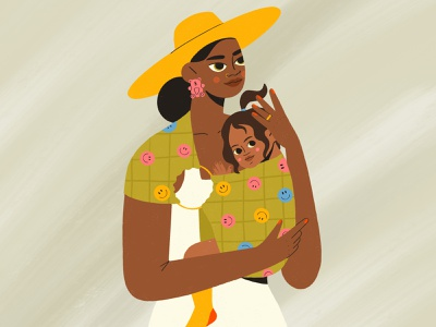 mother and child portrait family child mother procreate girl design character illustration