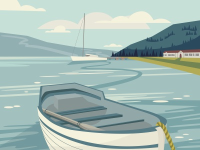 Landscape nature view boat lake landscape illustration